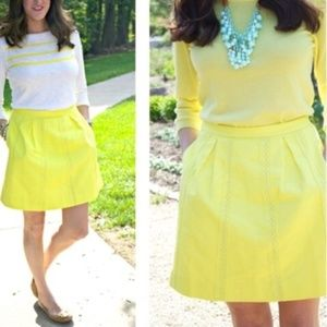 J. Crew Yellow Lace Stripe Skirt